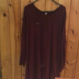 Burgundy colored swing dress